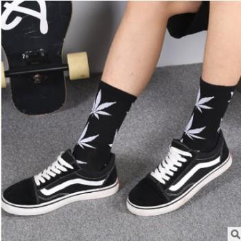 枫叶长袜子女ins潮流韩版街头春夏季中筒棉袜男士高筒篮球麻叶袜