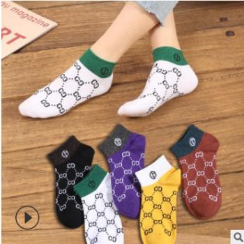 欧洲站双g袜子女春季短袜金银线字母袜子高端双c袜子欧美潮牌