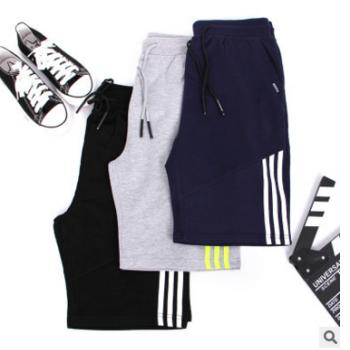 运动短裤男夏季男士休闲健身跑步训练纯棉透气弹力五分短裤三条杠