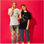 恶搞笑脸日系潮牌港味简约BF风嘻哈短袖T恤男女学生情侣宽松半袖