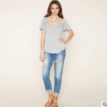 新款 速卖通 ebay外贸原单 圆领不规则T恤 欧美包袖T恤定做加工