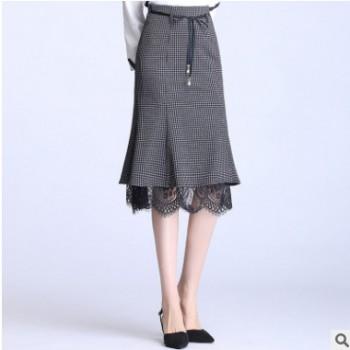 鱼尾包臀裙子2020春夏女中长款气质高腰显瘦荷叶边百搭优雅半身裙