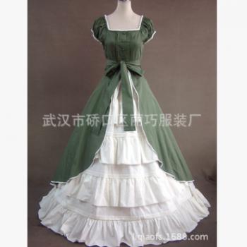 批发 军绿加白色棉料两件套 Lolita哥特式宫庭洋装 可量身定制