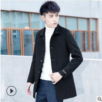 2019秋冬季双面羊绒风衣 韩版休闲纯色毛呢大衣 男士长款加厚风衣