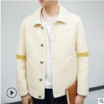2019新款男士加厚外套风衣 冬季双面羊绒外套 韩版中款毛呢上衣
