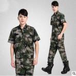 厂家定制迷彩服套装夏季军训短袖T恤运动作训服户外拓展服装批发