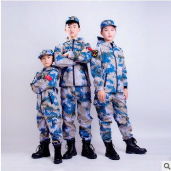 厂家直销户外运动海洋迷彩骆驼冲锋衣儿童少年冬季加绒作战服套装
