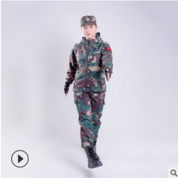 厂家直销户外运动儿童迷彩骆驼冲锋衣作战服套装少年冬季加绒