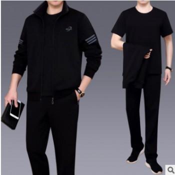 春秋运动套装男士中老年运动装男爸爸装大码三件套休闲运动服套装