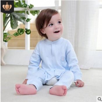 2019春季新款宝宝连体衣 纯色长袖舒适全棉开裆儿童爬服一件代发