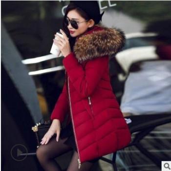 19棉衣女中长款加厚大毛领韩版修身显瘦新款大码羽绒棉服外套代发