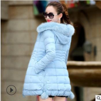 棉衣女中长款冬季新款韩版大毛领棉袄加厚羽绒棉修身显瘦棉服外套