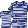 精梳棉空白海魂衫海军衫蓝白条短袖运动男式t恤情侣亲子装厂家批