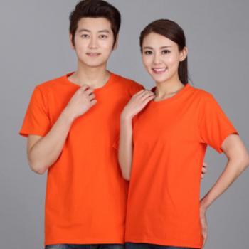 夏季180克纯棉广告衫t恤圆领短袖文化衫班服工作服定制纯色 印字