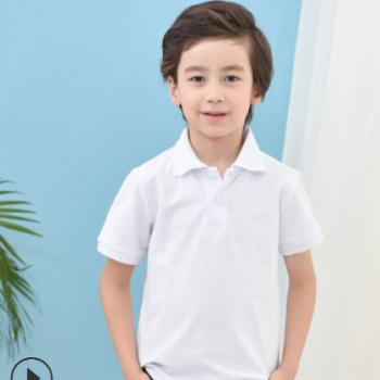 儿童翻领t恤定制短袖空白polo衫班服幼儿园活动广告订制印logo字