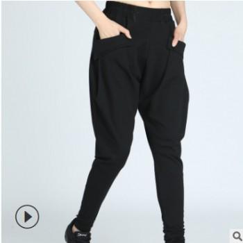 女款水兵舞 黑色 黄迷彩哈伦裤 夏季薄料长裤 大口袋休闲裤