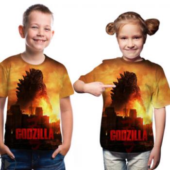 2019夏季新款童装 哥斯拉怪兽之王3d数码印花圆领宽松童装t恤