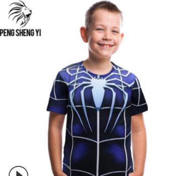 厂家直销 欧美跨境童装t恤 蜘蛛3d数码印花圆领大童t恤女童短袖