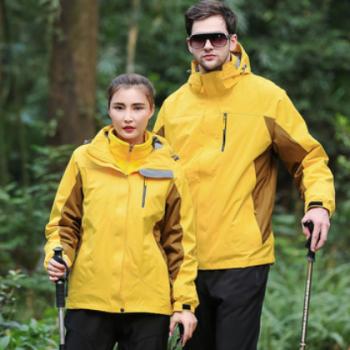 厂家直销两件套冲锋衣三合一情侣款防风保暖工作服户外运动登山服