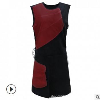 外贸wish爆款无袖侧边绑带圆领拼接男士中世纪服装舞台装现货
