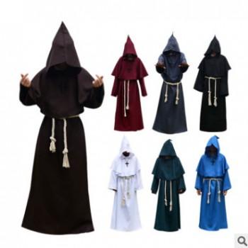 万圣节cosplay服装 古装修士袍僧侣服巫师服牧师中世纪服批发