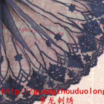 1022985DIY黑白两色蕾丝服装家纺网纱刺绣宽24厘米