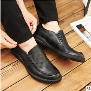 看乐皮鞋夏季打孔透气商务休闲鞋头层牛皮一脚蹬男士镂空皮鞋