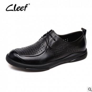 cleef看乐镂空皮鞋男真皮夏季打孔透气休闲鞋头层牛皮男士皮鞋