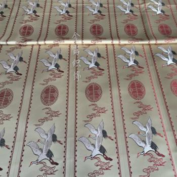 厂家直销高精密提花仙鹤红木坐垫面料 新中式靠垫抱枕装饰布