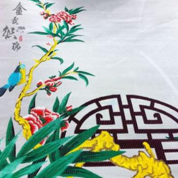厂家直销高精密提花定位花鸟 仿三五织锦缎 布艺沙发 童装年服
