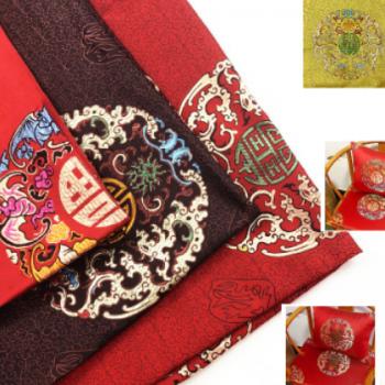 厂家直销仿三五1.5门幅夔龙团红木家具坐垫 桌旗抱枕织锦缎面料