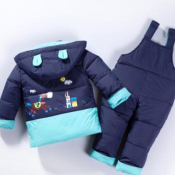 儿童羽绒服套装 冬款套装 背带裤套装可开档 男童女童 批发促销