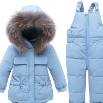 儿童羽绒服套装男女童貉子毛领1-4岁宝宝婴幼儿冬装两件厂家直销