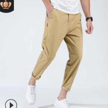 2019夏季新款纯棉休闲裤男士时尚大码宽松纯色九分裤男裤一件代发