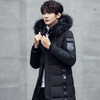 厂家直销新款冬装羽绒服 男大毛领中长款 时尚修身韩版加厚羽绒服