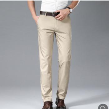 休闲裤男士夏季薄款商务休闲直筒修身纯色竹纤维长裤职业工作裤
