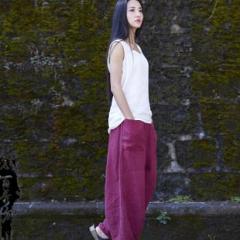 20春夏棉麻女装新品念百秀纺原创复古苎麻纯麻砂洗女式直筒裤长裤