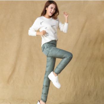 厂家直供2019新款女装时尚女士羽绒裤韩版抽绳休闲棉裤子一件代发