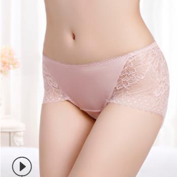厂家批发100桑蚕丝真丝三角裤女士蕾丝内裤女性感透气中腰內褲女