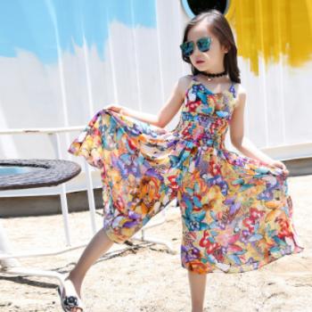 20新款波西米亚风儿童吊带裙女童夏装碎花阔腿裤个性连体裤连衣裙