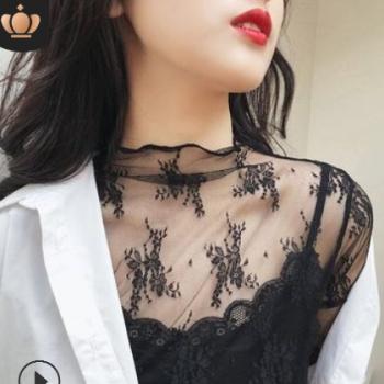 超仙内搭蕾丝打底衫女春秋新款长袖性感镂空网纱上衣半高领蕾丝衫