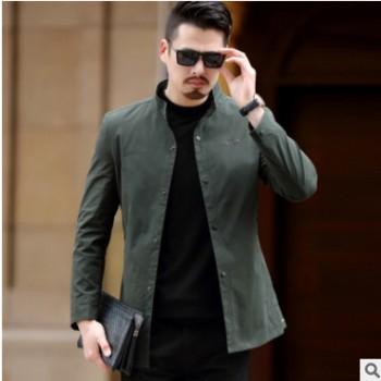 外套男春秋季男装新款休闲男士薄款外套立领修身爸爸装中年夹克男