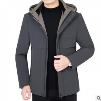可脱卸帽冬季中年男装短款男士羽绒服2019新款加厚工装外套爸爸装