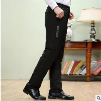 羽绒裤男外穿加厚保暖内胆可拆爸爸冬棉裤大码羽绒西裤白鸭绒长裤