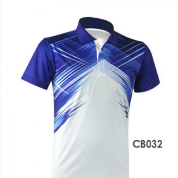 翻领短袖运动羽毛球服透气跑步服 可定制CB032