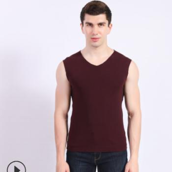 男士弹力修身内衣新款德绒纯色运动背心 冬季保暖打底衫厂家批发