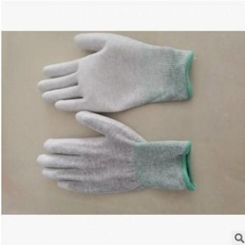 防静电碳纤维涂掌手套.十三针防静电手套.pu涂掌手套.灰色手套