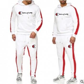 跨境新款连帽卫衣运动休闲套装 时尚潮流针织跑步运动服 一件代发