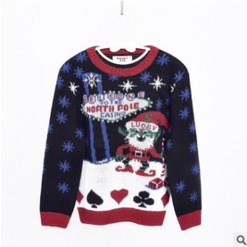 2019套头圆领毛衣圣诞毛衣儿童圣诞毛衣男童女童圣诞闪灯老人毛衣