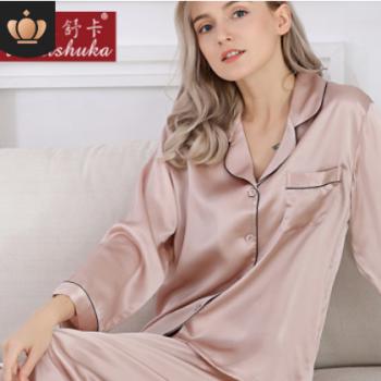 工厂直批真丝睡衣女春夏季100%桑蚕丝两件套家居服长袖丝绸女套装